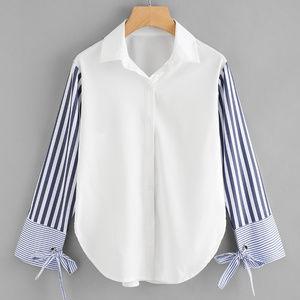 Tops - Contrast Striped Sleeve Tie Detail Curved Hem Top